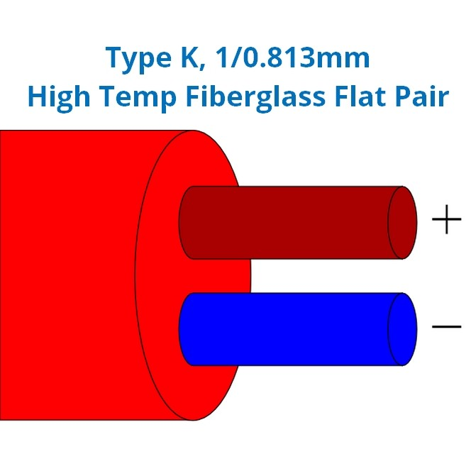 Thermocouple Cable / Wire Type K PVC Insulated High Temperature Fibreglass Flat Pair (BS)