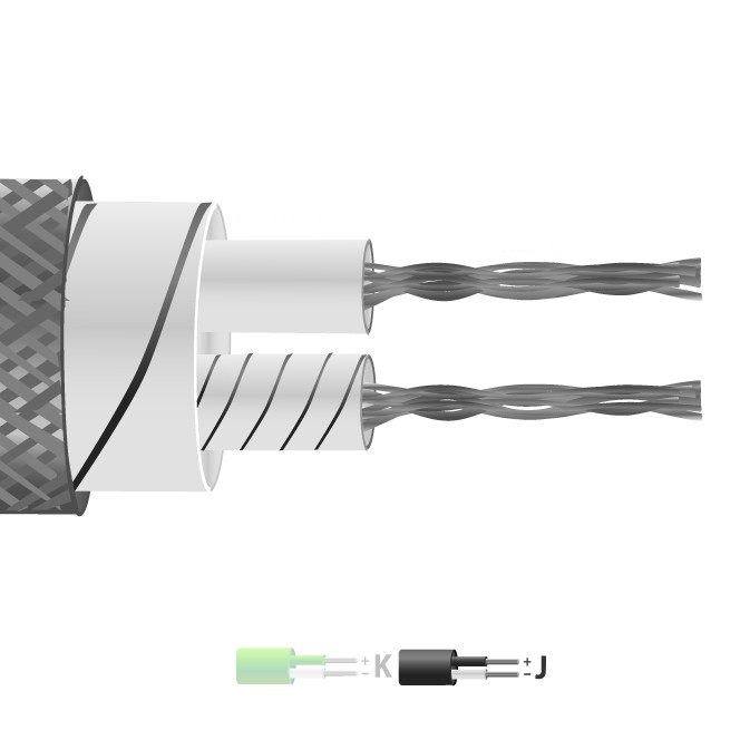Type J Glassfibre Insulated Flat Pair Cable / Wire with Stainless Steel Overbraid (IEC)