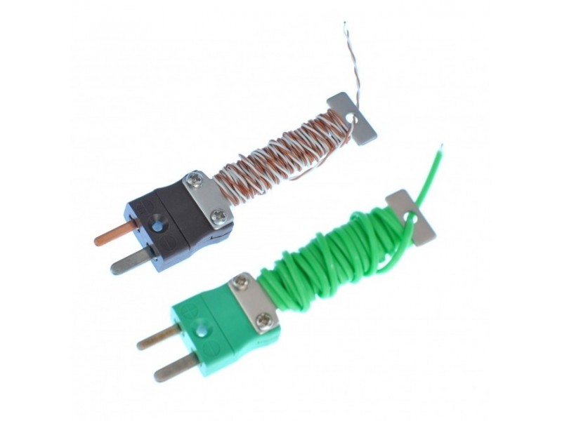 PFA Cable / Wire Tidy Exposed Junction Thermocouple with Fitted Mini IEC Plug - Various Types