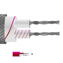 Type N Glassfibre Insulated Flat Pair Cable / Wire with Stainless Steel Overbraid (IEC)