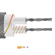 Type U Glassfibre Insulated Flat Pair Cable / Wire with Stainless Steel Overbraid (IEC)