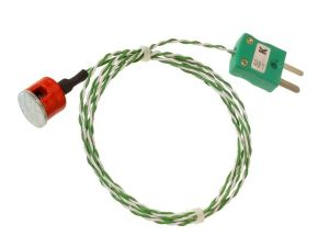 Button Magnet Thermocouple, PTFE Insulated with Fitted Plug - Type K