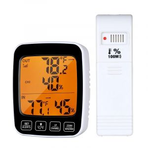 Wireless Indoor Outdoor Thermometer Hygrometer with colour display