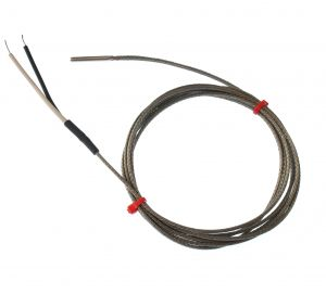 Fabricated Grounded Thermocouple in Stainless Steel Tube, Glassfibre stainless steel Overbraided cable - Type K,J