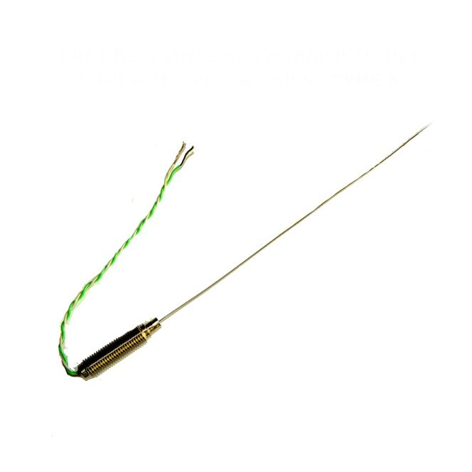 Fast Response (0.5mm diameter) Mineral Insulated Thermocouple with Threaded Pot & PFA IEC Tails - Type K