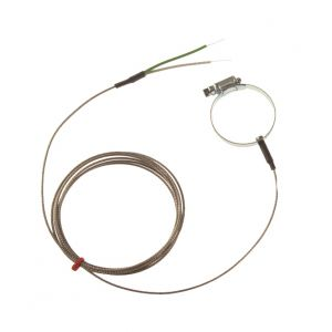 Pipe Surface Thermocouple, Glassfibre stainless steel overbraid - Type K,J