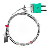 Leaf Thermocouple, Glassfibre stainless steel overbraid - Type K,J
