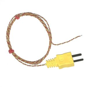 PFA Insulated ANSI Exposed Junction thermocouple with Moulded-on Plug - Type K