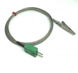 Crocodile Clip Thermocouple with Glassfibre Stainless Steel Overbraided Cable - Type K,J