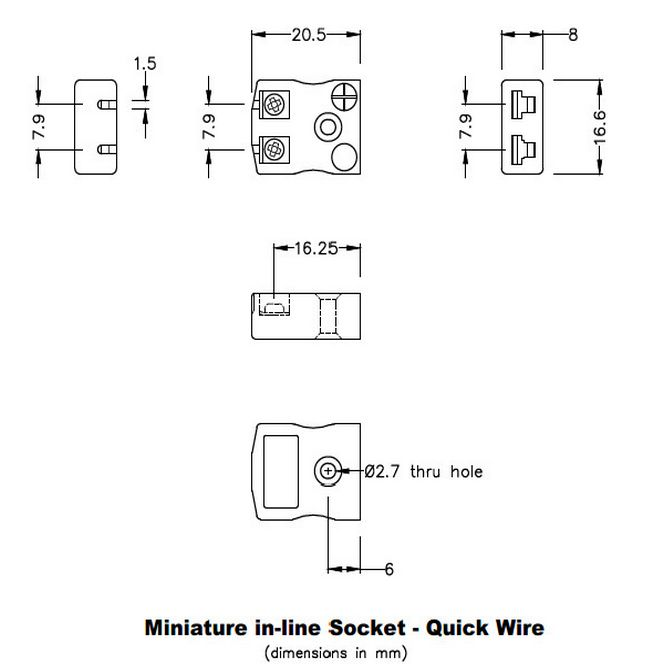miniature quick wire connector thermocouple socket im-b-fq type b iec