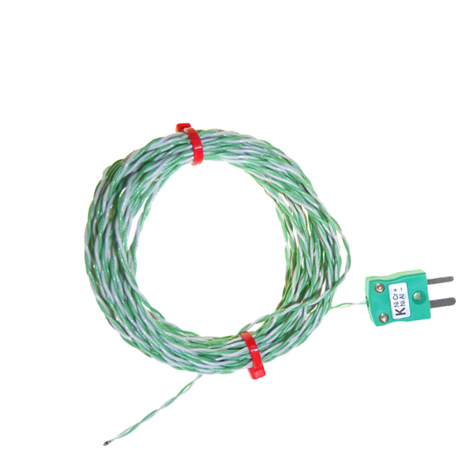 PFA insulated IEC Exposed Junction Thermocouple - Various Types