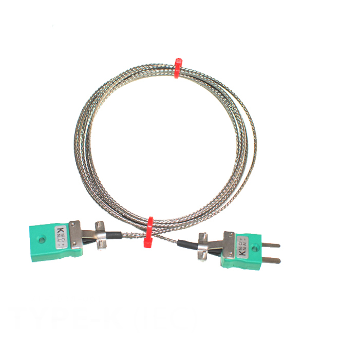 Type K Glassfibre Thermocouple Extension Leads with Miniature Plug & Sockets (IEC)